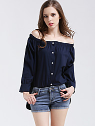 Women's Going out Sexy Fall Shirt,Solid Boat Neck Long Sleeve Blue Cotton Thin