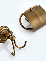 Bathroom Accessory Set / Toilet Paper Holder / Robe Hook / Antique Bronze / Wall Mounted //Brass /Antique