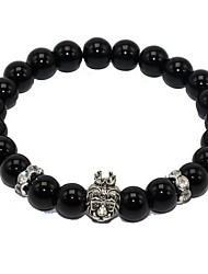 Women Alloy Black Lion Head Strand Bracelets