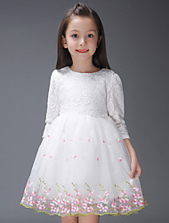 Girl's Cotton  Spring/Autumn Bowknot Princess Dress Party Wedding Birthday Lace Long Sleeve Dress