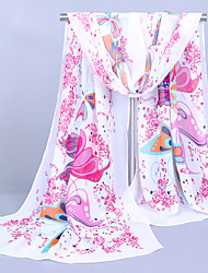Women's Chiffon Butterfly Print Scarf,Yellow/Pink/Blue/white