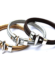 Fashion Vintage Punk Bracelet Women Metal Bilayer PU Leather Bracelets&Bangles Men Jewelry