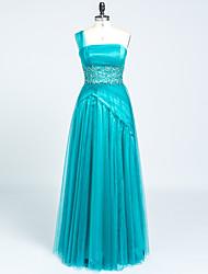 A-ligne one shoulder floor longueur satin tulle robe de soirée avec perles