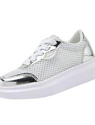 Damen-Sneaker-Lässig-Tüll PU-Flacher Absatz-Komfort-Silber Gold