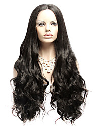 Handmade Brazilian Body Wave Wigs Glueless Black Synthetic Lace Front Wig Natural Wavy Heat Resistant Hair For American
