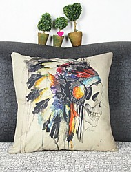 Indian Skull  Linen Pillow Cover