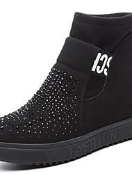 Women's Boots Winter Riding Boots Synthetic Office & Career Dress Flat Heel Sparkling Glitter Black Khaki