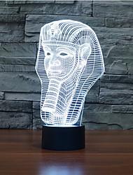 faraó toque escurecimento 3D conduziu a luz da noite 7colorful decoração atmosfera lâmpada de iluminação novidade luz de Natal