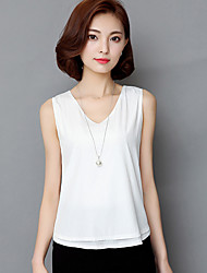 Women's Casual/Daily Sexy / Simple Summer Blouse,Solid Round Neck Sleeveless White Polyester Medium