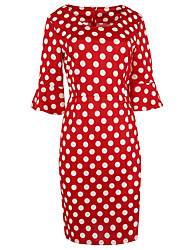 Women's Party/Cocktail Simple / Cute / Street chic Shift Dress,Polka Dot Round Neck Knee-length ¾ Sleeve