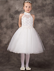 A-line Tea-length Flower Girl Dress - Tulle Halter with Beading
