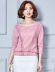 Women's Casual/Daily Simple Fall Blouse,Solid Round Neck Long Sleeve Cotton Rayon Thin