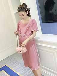 Ample Robe Maternité Décontracté / Quotidien simple,Couleur Pleine Col Arrondi Mi-long Manches Courtes Rose Soie Eté