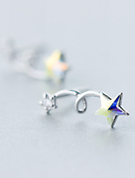 Earring Star,Jewelry 1 pair Fashionable Sterling Silver Silver Daily / Casual