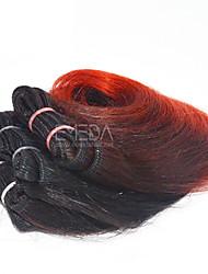 nuevos 3pcs / set ombre humanos virginales del pelo corto de tejido húmedo ombre ondulada 2 tono de color # 1b / rojo 8inch 6 colores