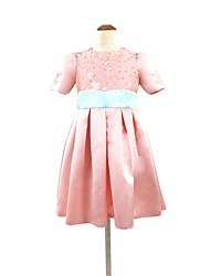 A-line Tea-length Flower Girl Dress - Lace Short Sleeve Jewel with Sash / Ribbon