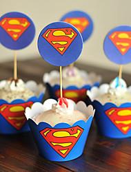 Aniversário Party Favors & Gifts-12Peça/Conjunto Embalagens para Cupcake/Muffin Marcador Papél de Alta Qualidade Tema Clássico Cilindro