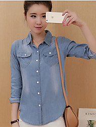 Chemise Aux femmes,Couleur Pleine Décontracté / Quotidien simple Automne Manches Longues Col de Chemise Bleu Coton Moyen