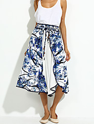Women's Floral Blue Skirts,Casual / Day Maxi
