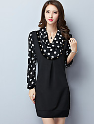 Women's Plus Size/Casual/Daily Simple Shift Dress,Polka Dot Cowl Above Knee Long Sleeve Blue/Black Rayon/Polyester Fall