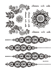 1pc Black Temporary Tattoo Flower Letter Design Woman Body Art Waterproof Tattoo Jewelry Sticker BM-LS1010