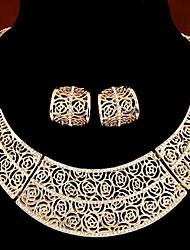 Vintage Retro Gold Silver Hollow Stud Earrings Choker Necklace Jewelry Set