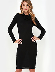Women's Going out Street chic Sheath Dress,Solid Cowl Knee-length Long Sleeve Black Cotton Fall