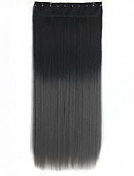 "50g 22"" Long Synthetic Straight Clip In On ombre Hair Extension 5 Clips In Hair Weave Two Tone Hairpieces 1BTGray"