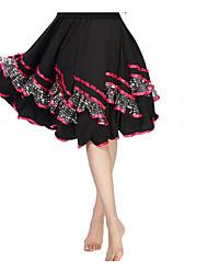 Latin Dance Bottoms Women's Performance Milk Fiber Sequins 1 Piece Latin Dance Sleeveless Natural Skirt