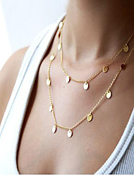Women's Necklace Double layer Fashion May Polly European minimalist double Sequin necklaces
