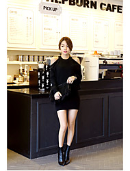 Women's Casual/Daily Sexy Sweater Dress,Solid Round Neck Above Knee Long Sleeve Black Rabbit Fur / Cotton Spring / Fall
