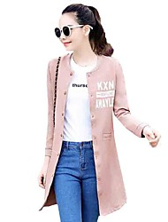 Women's Casual/Daily Street chic Leisure Slim Fall Jackets,Letter Round Neck Long Sleeve