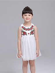 KIMOCAT  Girl's Casual/Daily Embroidered Dress,Polyester Summer White