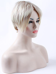 Capless Long  Straight  Beige Blonde Synthetic Hair Wigs  White Woman's Wig Suit for Daily
