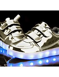 Mädchen-Sneaker-Lässig-PU-Flacher Absatz-Komfort Light Up Schuhe-Schwarz Rosa Lila Silber Gold