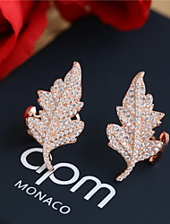 Women Alloy Golden Leaf  Clip Earrings