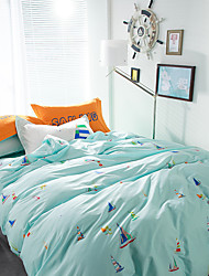 Blue brief style 4piece bedding sets print duvet cover Sets 100% Cotton Bedding Set Queen Size