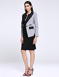Women's Work Simple Spring / Fall Blazer,Solid Notch Lapel Long Sleeve Gray Cotton / Polyester / Others Medium