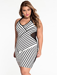 Women's Fine Stripe|Backless  Black and White Mesh Halterneck Curvy Dress