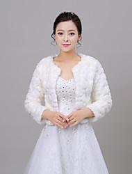 Women's Wrap Shrugs Long Sleeve Faux Fur Ivory / Red Wedding Scoop 34cm Pattern Open Front