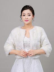 Women's Wrap Shrugs Half-Sleeve Faux Fur Ivory Wedding Scoop 34cm Wave-like Open Front