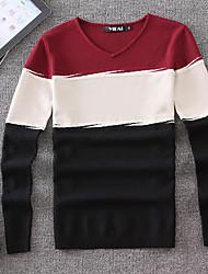 Herren Pullover-Einfarbig Freizeit Baumwolle Lang Blau / Orange / Rot