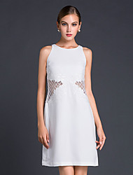 jojo hans femmes sortant gaine simple dresssolid ci-dessus sans manches genou polyester blanc / noir