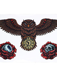 1pc Beauty Body Art Tattoo for Women Men Rose Flower Skull Owl Clock Picture Design Temporary Tattoo Sticker HB-419