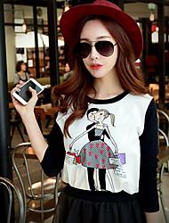 Mulheres Camiseta Happy-Hour / Trabalho / Férias Fofo / Moda de Rua / Sofisticado Primavera / Outono,Estampado / Color Block Branco