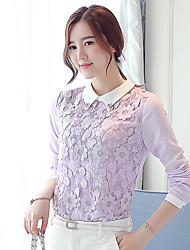 Women's New Fashion Lace Splicing Chiffon Long Sleeve Blouses