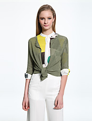 ADEAST  Women's Going out / Casual/Daily / Work Vintage / Simple Summer / Fall Jackets,Solid Round Neck ¾ Sleeve