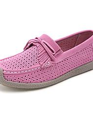 Women's Flats Spring / Summer Flats Cowhide Casual Flat Heel Tassel Blue / Pink / Red / Navy