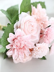 1 1 Ramo Poliéster Rosas Flor de Mesa Flores artificiais 30CM