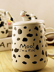 Speckle Pattern Cow Mug Doll Ceramic Milk Cup Breakfast Cup with Cover and Spoon (Random Color)